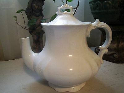 ~Antique White Ironstone Ornate Meakin Tea Coffee Pot W Lid Shabby Cottage Chic