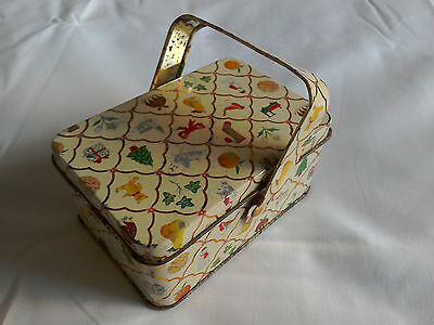 Vintage Christmas Themed Picnic Basket Style Decorative Tin