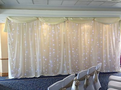 Ivory Or White Backdrop With Swag For Wedding,  6m x 3m