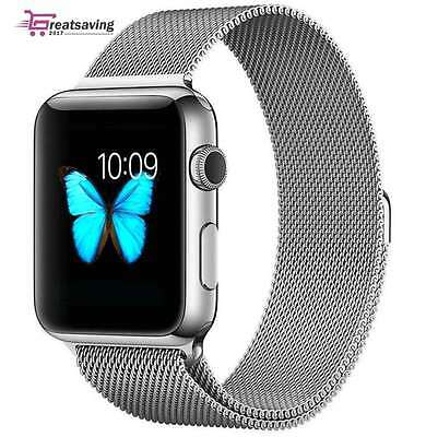 Milanese Loop Stainless Steel Silver Strap Replacement Band For Apple Watch 42mm