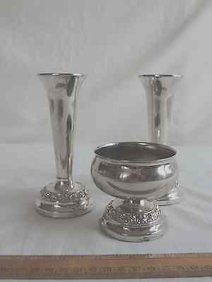 Ianthe set of 2 silver plate vases and rose bowl