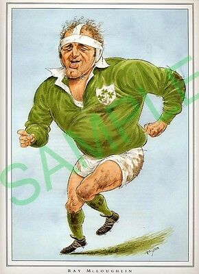 Framed picture Ray McLoughlin by John Ireland, Rugby