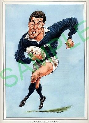 Framed picture Gavin Hastings by John Ireland, Rugby