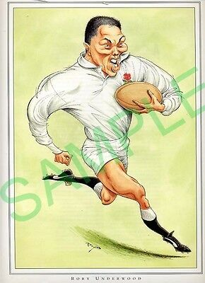 Framed picture Rory Underwood by John Ireland, Rugby