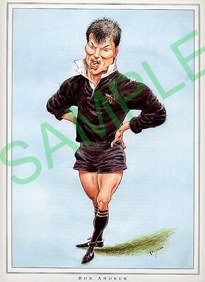 Framed picture of Rob Andrew by John Ireland, Rugby