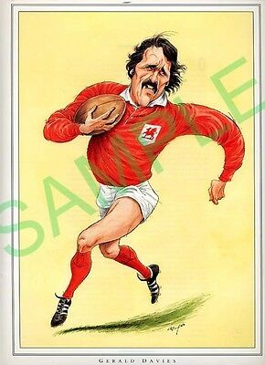 Framed picture Gerald Davies by John Ireland, Rugby