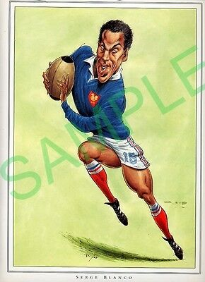 Framed picture Serge Blanco by John Ireland, Rugby