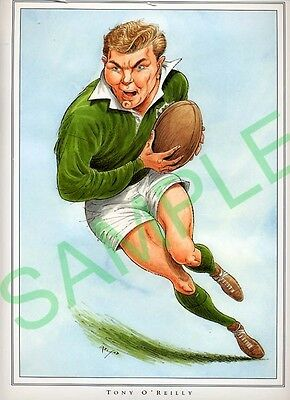 Framed picture Tony O'Reilly by John Ireland, Rugby