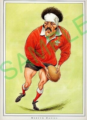 Framed picture Mervyn Davies by John Ireland, Rugby