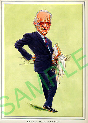 Framed caricature of Peter O'Sullivan by John Ireland