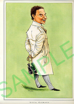 Framed caricature of Luca Cumani by John Ireland