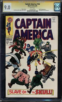 Captain America #104 Cgc 9.0 White Ss Stan Lee Signed Red Skull Cgc #1203281020