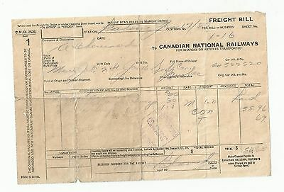 1950's CNR CANADIAN NATIONAL RAILWAYS FREIGHT BILL CHARGES ARTICLES TRANSPORTED