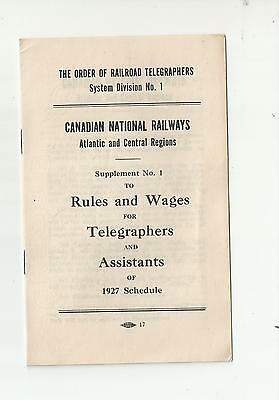 1927 Canadian National Railways Rules & Wages For Telegraphers & Assistants