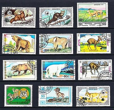 Mongolia Animals Collection 12 stamps [Lot 12]