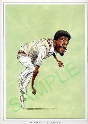 Framed caricature of Michael Holding by John Ireland
