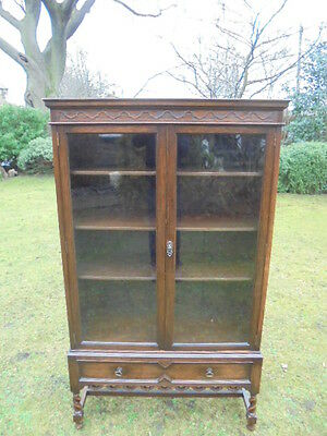 Antique Barley Twist Oak 2 Door Glazed Bookcase Cabinet