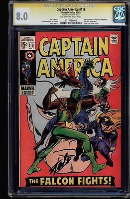 Captain America #118 Cgc 8.0 Oww Stan Lee Ss 2Nd App Of Falcon #1278786005