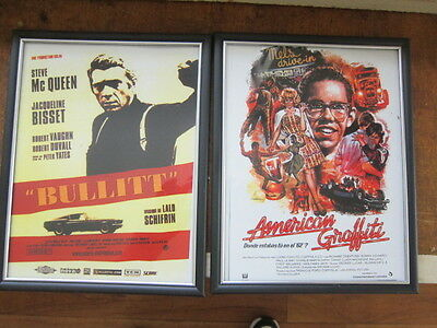 TWO FRAMED Hot rOD McQueen, American Graffiti PRINTS COPIES check it out