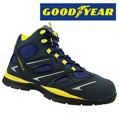 Mens Goodyear Leather Safety Work Boots Steel Toe Cap Shoes Trainers Hiker New
