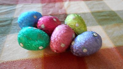 """Lot of six Vintage  2.5"""" long styrofoam Easter eggs covered in foil w dots"""