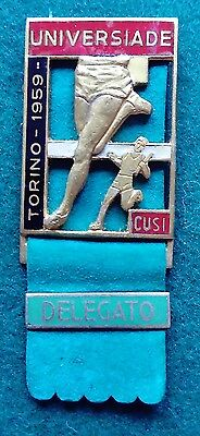 1959 Turin World Student Games Universiade official Delegato badge