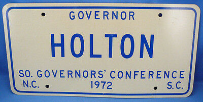 1972 Linwood Holton,southern Governors' Conference License Plate,va.sc.nc.