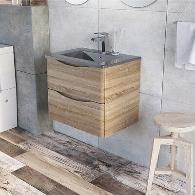 Cube 900mm light oak wall mounted vanity unit and basin with dark 600mm cube wall mounted vanity unit light oak with dark grey glass basin aloadofball Image collections