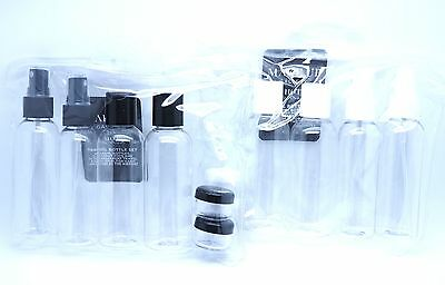 6 Piece Travel Flight Holiday Clear 100ml Plastic Bottle Pack Set Airport
