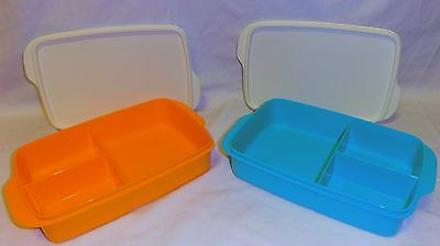 BNIP TUPPERWARE LARGE DIVIDED LUNCH BOX (choice of 2 colours)