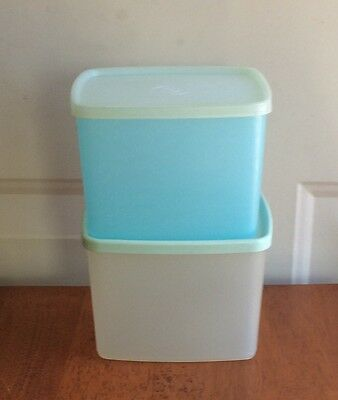 Vintage Tupperware Lot/2 Square Rounds #312 Clear & Sheer Green