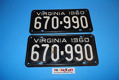 Virginia License Plates - Matched Pair 1960 670-990