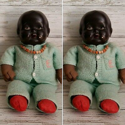 Vintage 1938 Cloth and Composition Black Baby Doll. Made in England.