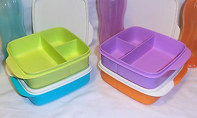 BNIP TUPPERWARE DIVIDED SQUARE LUNCH BOXES set of 2 (choice of 2 colours)