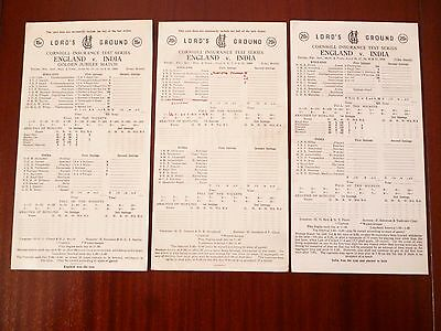 ENGLAND v INDIA CRICKET LORDS 1980s/1990 SCORECARDS *READ/SEE PICTURES*
