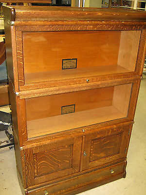 "Oak ""Globe"" 3 Stack Bookcase w/ Cupboard Section and Drawer base"