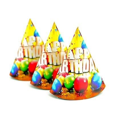 Pack of 10 - Happy Birthday Party Multicolours - Paper Cone Hats Fun Game