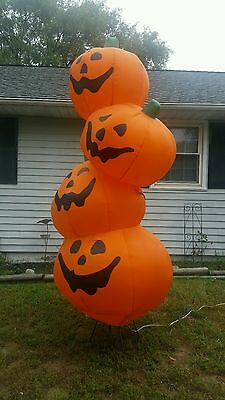 Rare Halloween Gemmy Airblown 8'ft stacked Pumpkins Inflatable Lights Up Blow Up