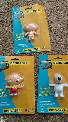 Bendable Family Guy Figures - Stewie x2 and Brian