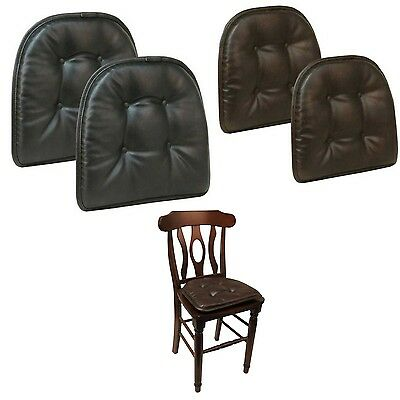 """Faux Leather Tufted Chair Cushions Set Of 2 Gripper Non Slip Chair Pad 15"""" x 16"""""""