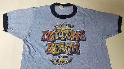 VTG 70s 80s Tri Blend Ringer T Shirt Daytona Beach Florida Large Rayon Thin