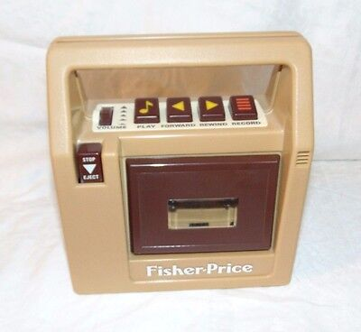 Vintage FISHER PRICE Tan Brown CASSETTE Player Works but NO SOUND so AS IS Parts