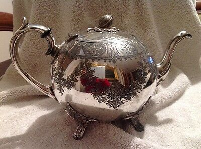 Antique Grayson Of Sheffield Silver Plated Victorian Teapot