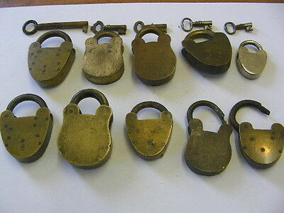 Collection Of 10 Victorian Etc Hand Made Brass Padlocks