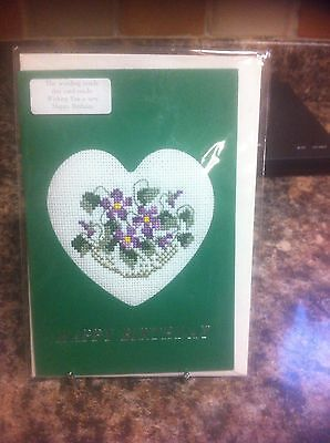 Floral cross stitched birthday card