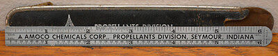 """Vintage Amoco Chemical Propellants Division 6"""" Stainless Steel Ruler w/Holder"""