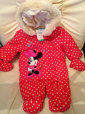 Disney Minnie Mouse Snow Suit 0-3 months Baby Girls Clothes Brand New with Tags