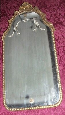 "Antique Victorian Art Deco Etched Wall Hanging Mirror - 11.5"" x 23.5"