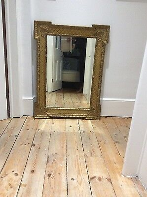 Antique Wall Mirror Overmantle Gilt Wood Ornate Frame