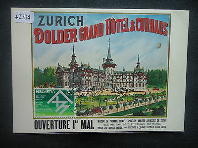 Switzerland Maximum Card 1982 Grand Hotel Dolder (Reprint Of Old Poster) SG 1023